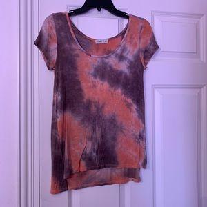 Gray and orange tie dye short sleeve shirt